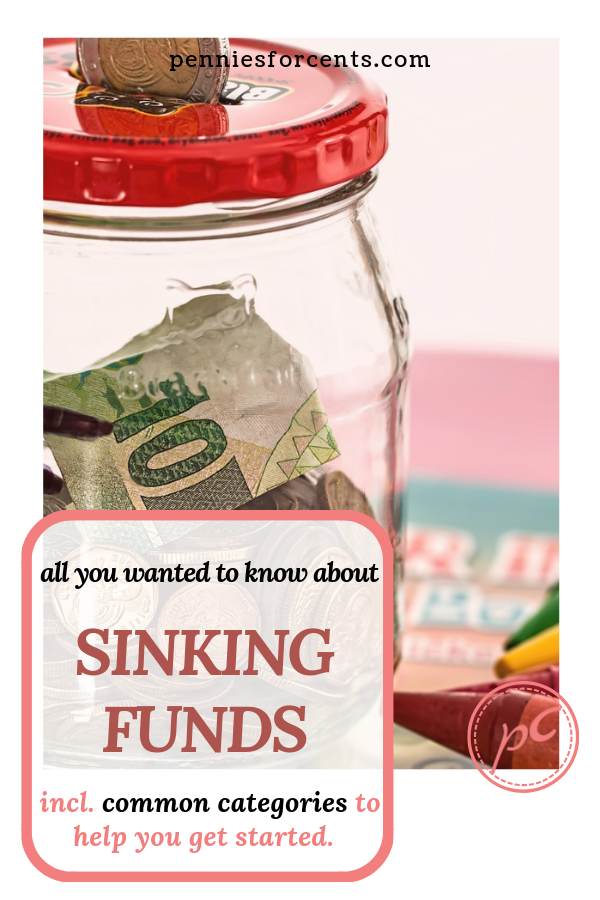 jar containing money with text overlay Sinking Funds