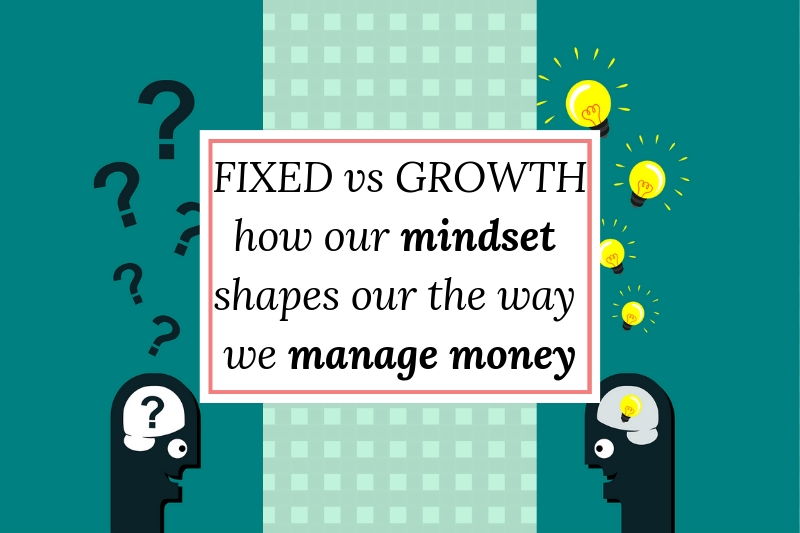 brain illustration with text overlay fixed vs growth mindset shaping our money management