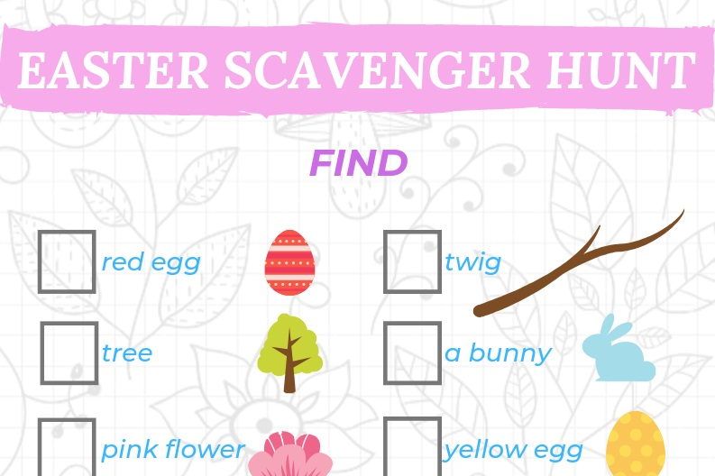 Easter activities - Easter egg scavenger hunt printable checklist