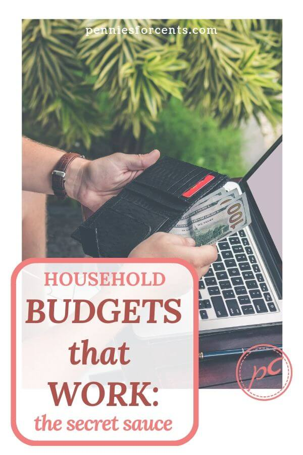 counting cash in wallet. text overlay 'household budgets that work: the secret sauce'