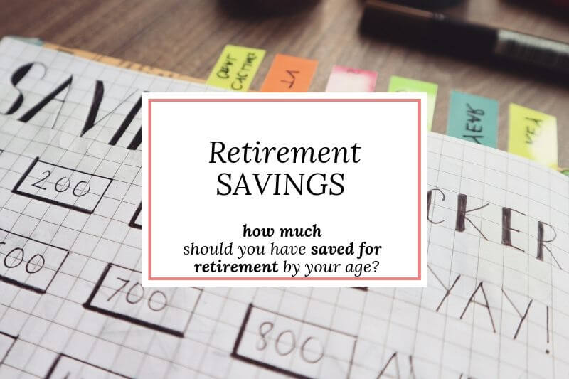 savings tracker with text 'retirement savings - how much by your age?'