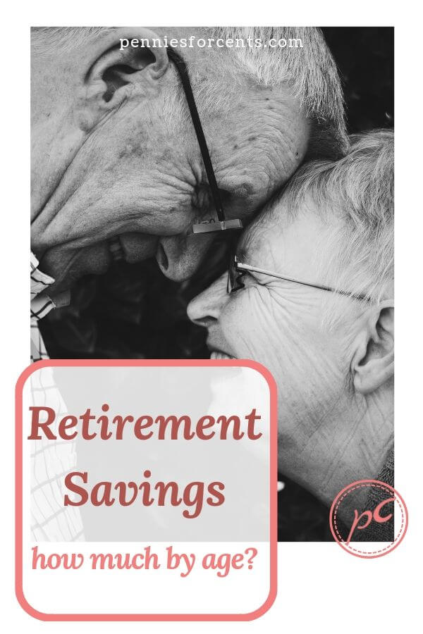 age couple with text 'retirement savings - how much by age?'