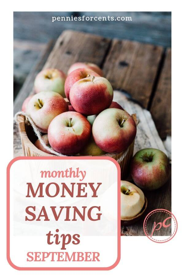 apples with text 'monthly money saving tips September'