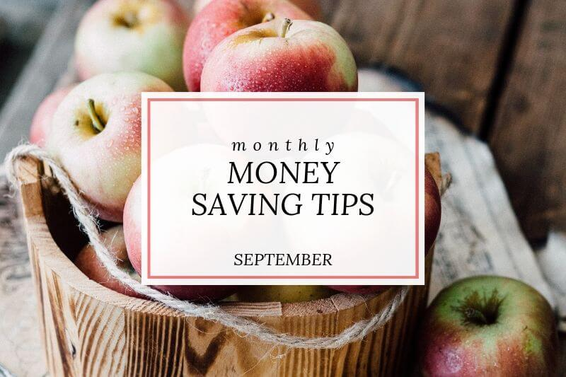 apple basket with text 'monthly money saving tips September'