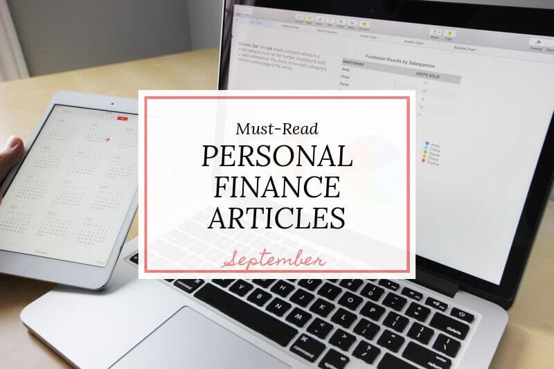 laptop and tablet with text overlay 'must read personal finance articles September'