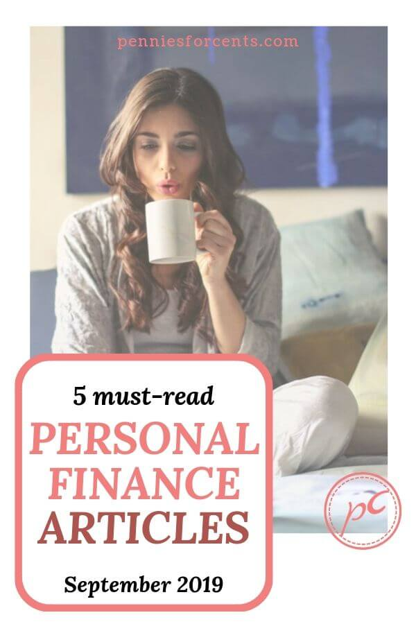 girl on bed with mug reading with text '5 must-read personal finance articles September 2019'