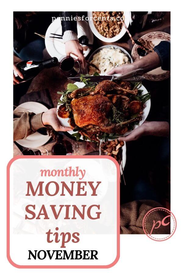 turkey feast with text 'monthly money-saving guide November'