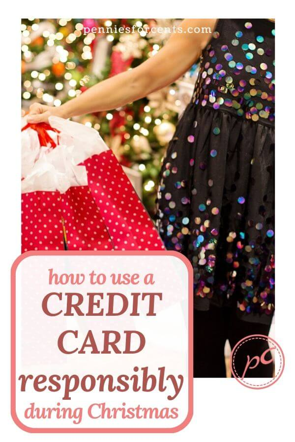 lady with red shopping bags text overlay how to use a credit card responsibly during Christmas